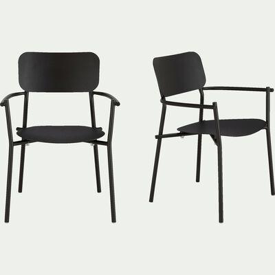 Chaise de jardin en aluminium avec accoudoirs noir-Matias
