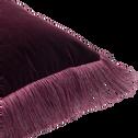 Coussin à franges en velours pourpre 45x45cm-BROOKLYN