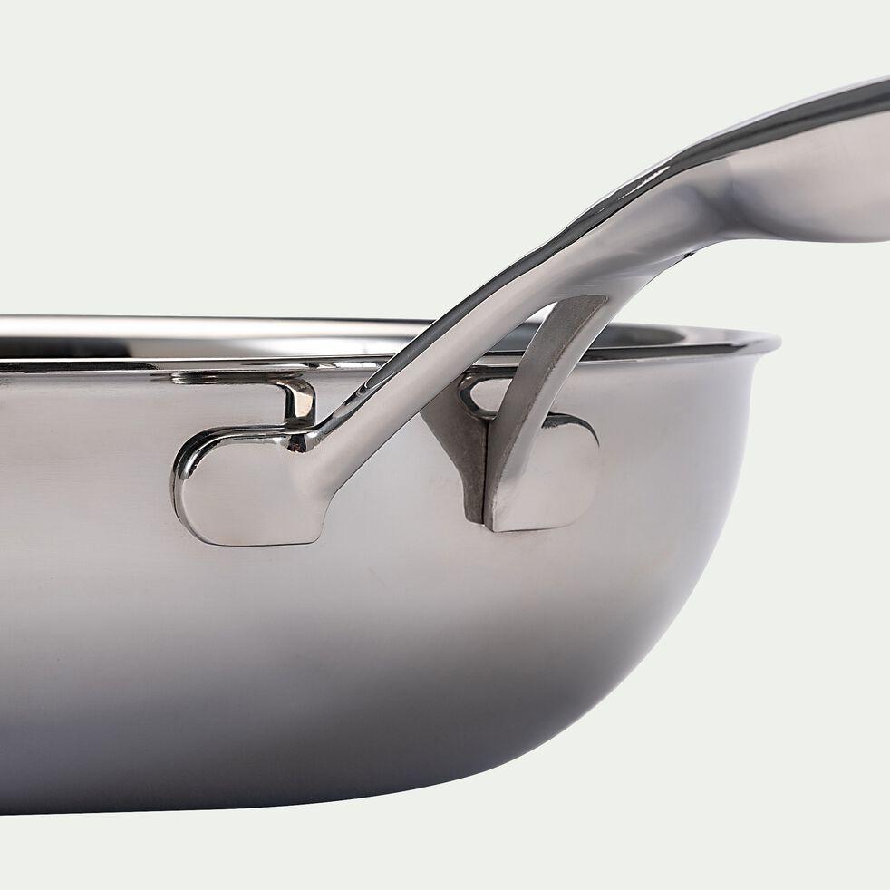 Poêle en inox - gris métallisé D20cm-BLACK CUBE