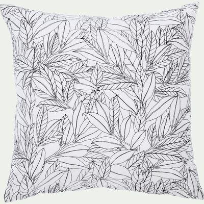 Coussin motif Laurier en coton - blanc et noir 40x40cm-LAURIER