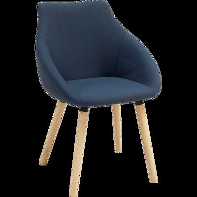 Chaise En Tissu Bleu Fonce Avec Accoudoirs NOELIE