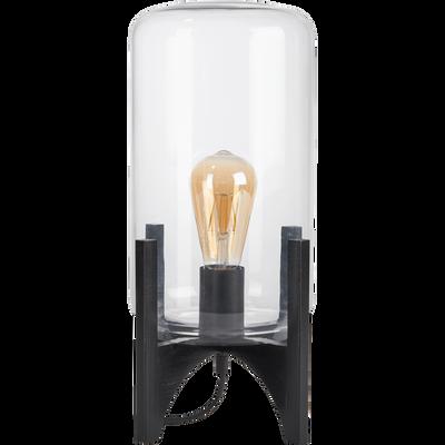 Lampe à poser en verre et bois H41cm-MARTIA