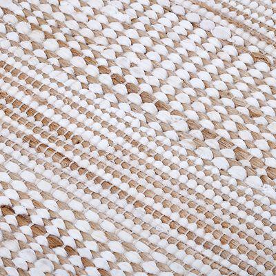 Tapis en coton recyclé et jute - naturel et blanc 60x110cm-lieto