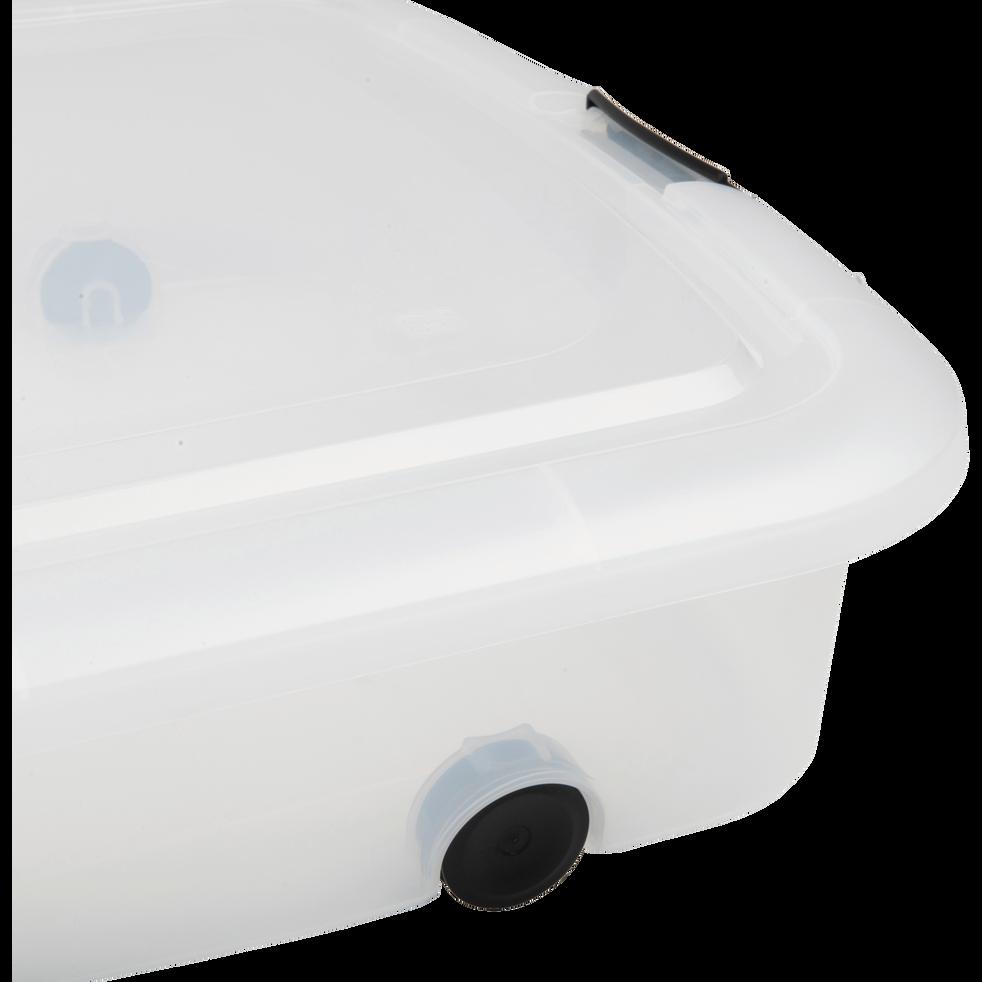 bo te transparente en plastique avec couvercle et roulettes 60l modular bo tes de rangement. Black Bedroom Furniture Sets. Home Design Ideas