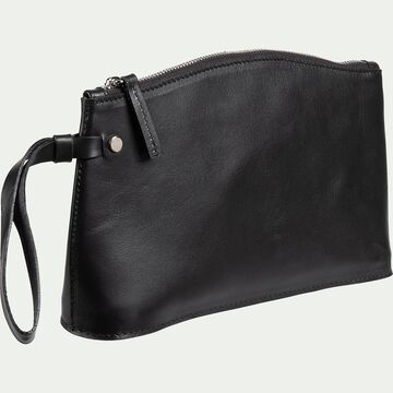 Pochette en cuir - noir 15,5x24,5cm-EUGENIE