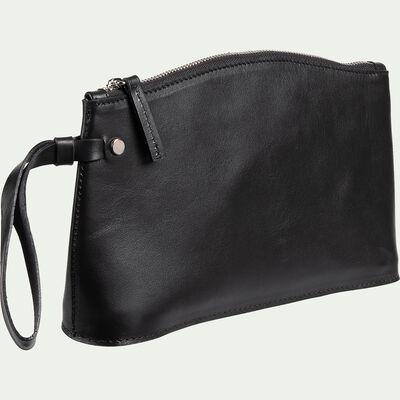 Pochette en cuir noir H15,5x24,5cm-EUGENIE