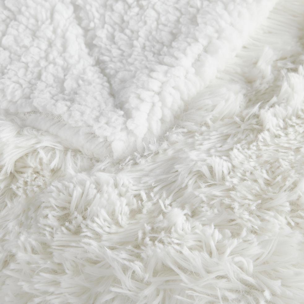 Plaid effet fourrure blanc 130x170cm-ELEC