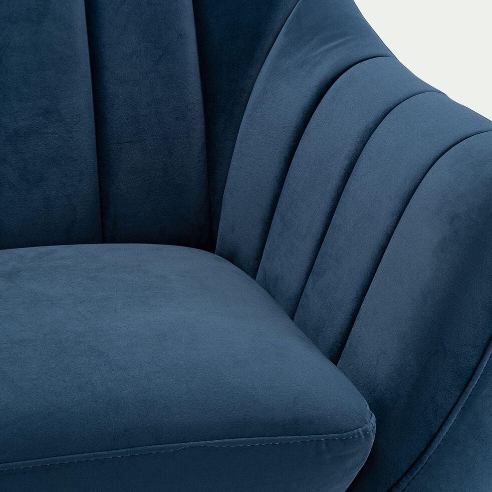 Canapé 2 places fixe en velours - bleu myrte-SHELL