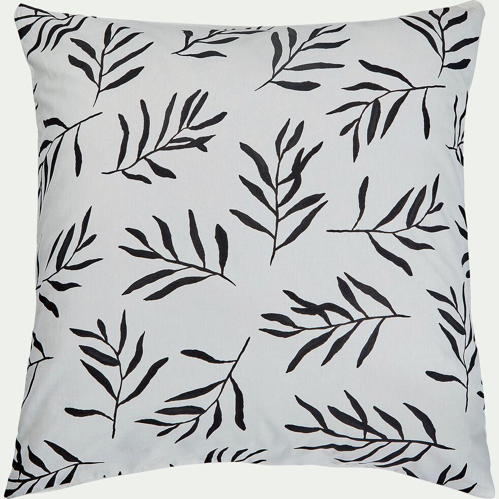 Housse de couette et 2 taies d'oreiller en coton - noir et blanc 260x240cm-ALOYSE
