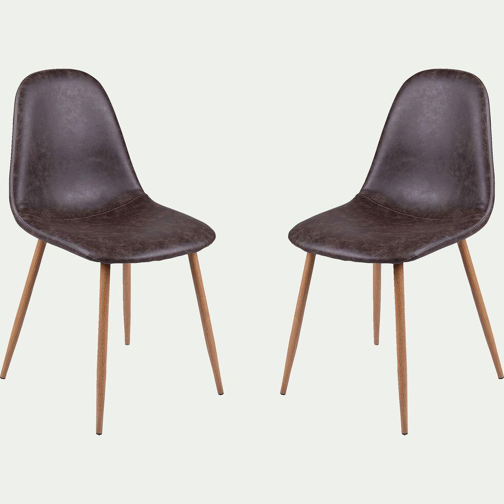 Chaise vintage en simili marron-CHARLIE