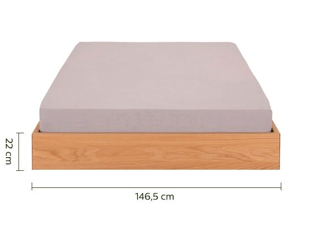 Lit 2 places en plaqué chêne - 140x200 cm-DUO
