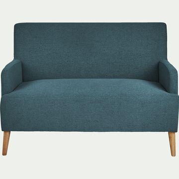 Canapé 2 places fixe en tissu bleu figuerolles-NANS