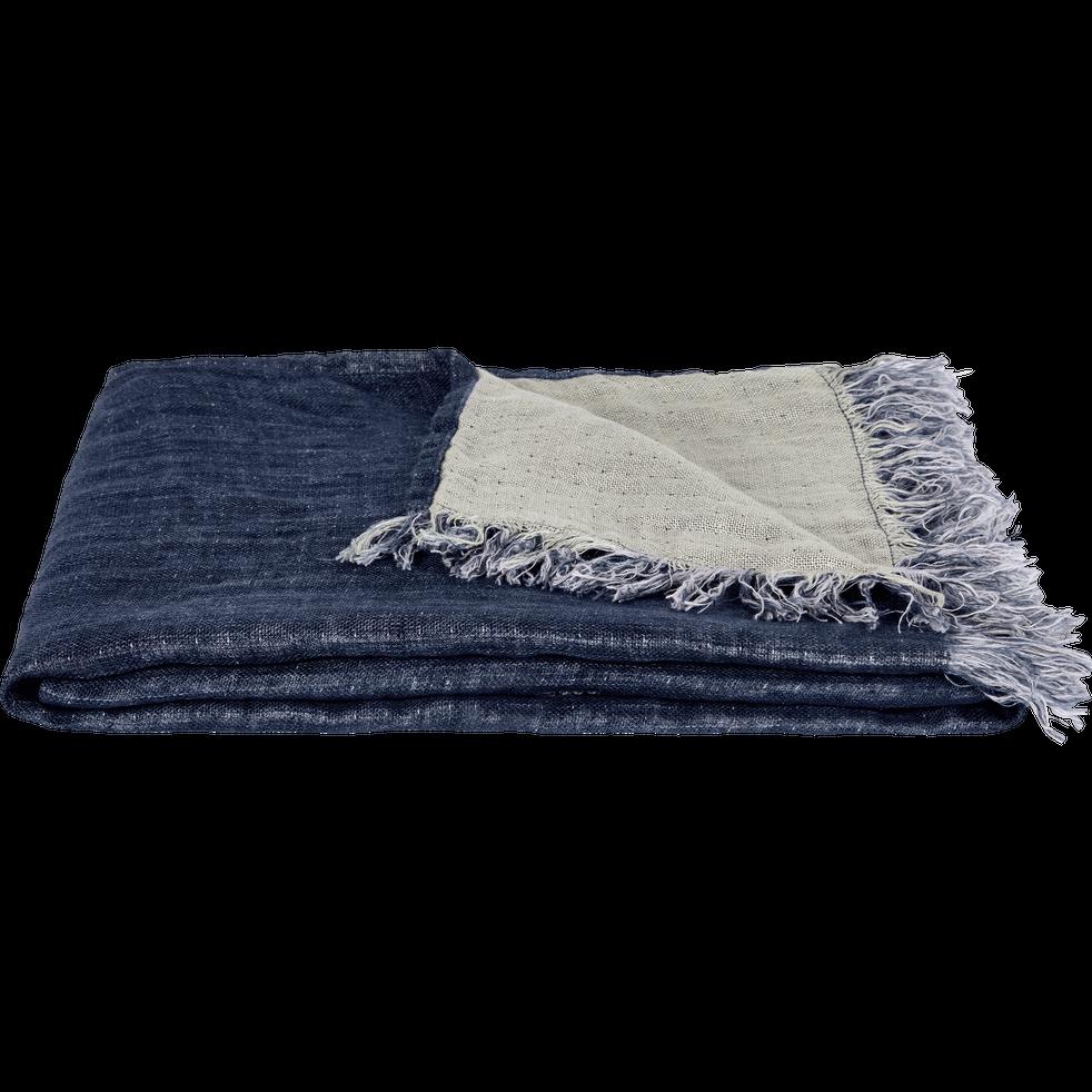 10c48330d02 Plaid écharpe en lin bleu marine 43x185cm - JUSTIN - alinea