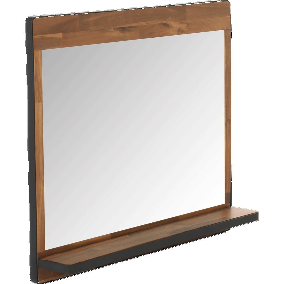 miroir rectangulaire de salle de bains en acacia et m tal. Black Bedroom Furniture Sets. Home Design Ideas