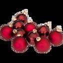 10 boules de Noël en verre bordeaux D6cm-BOCCA