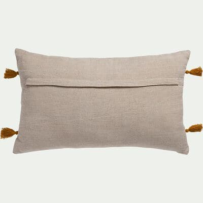 Coussin brodé avec pompons en coton lavé - écru et jaune 30x50cm-SEEVAN