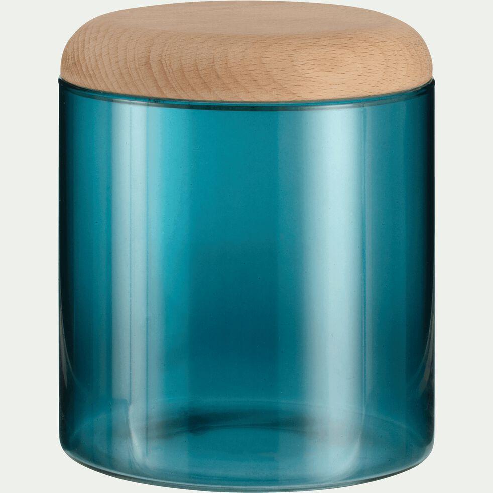Boîte en verre bleu niolon et couvercle en bois-Astaki