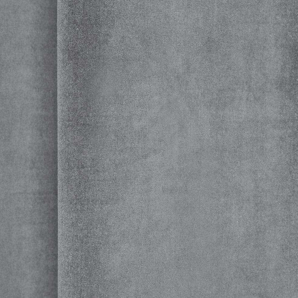 Rideau à oeillets en velours gris restanque 140x250cm-EDEN