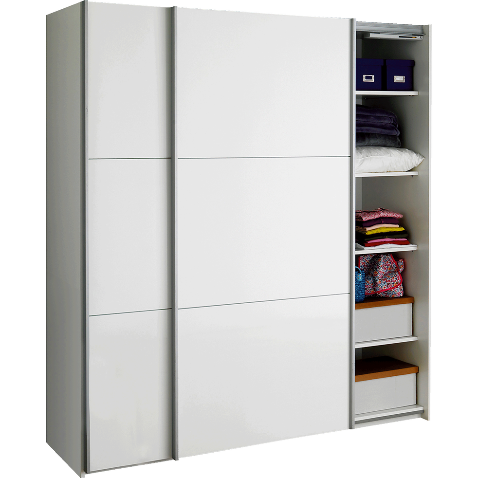 armoire 2 portes coulissantes blanc delia armoires alinea. Black Bedroom Furniture Sets. Home Design Ideas