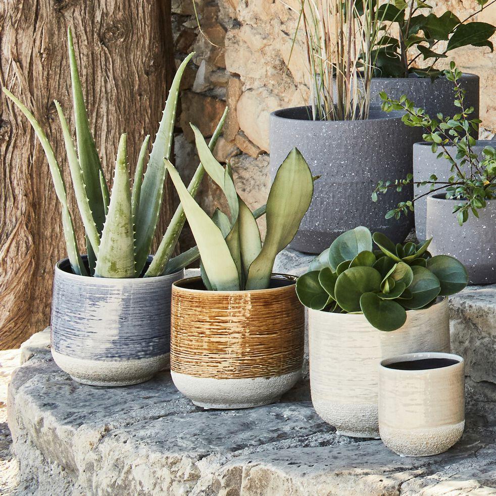 Cache-pot en céramique - gris clair H11xD10 cm-ISSA