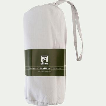 Drap housse rayé en satin de coton - gris borie 140x200cm B25cm-SANTIS