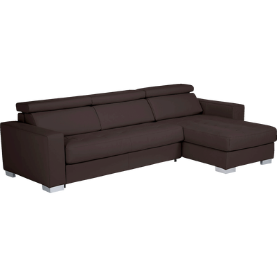 Canapé d'angle réversible en cuir de buffle marron-MAURO