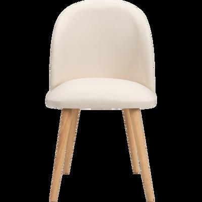 Chaise rétro en tissu beige nèfle-SERAPHINE
