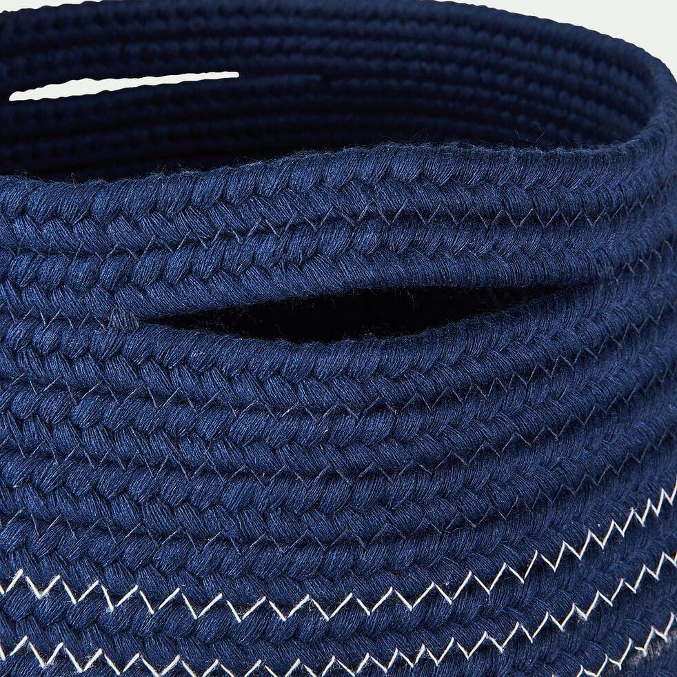 Panier déco en coton bleu figuerolles D21xH23cm-Willy