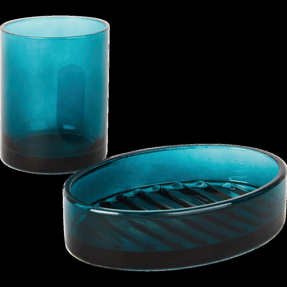 Porte-savon en verre vert-LILAS