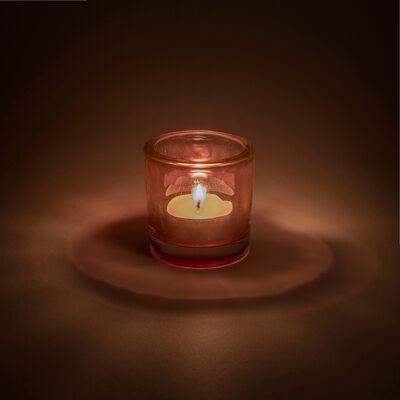 Photophore en verre rose H10cm-Triope
