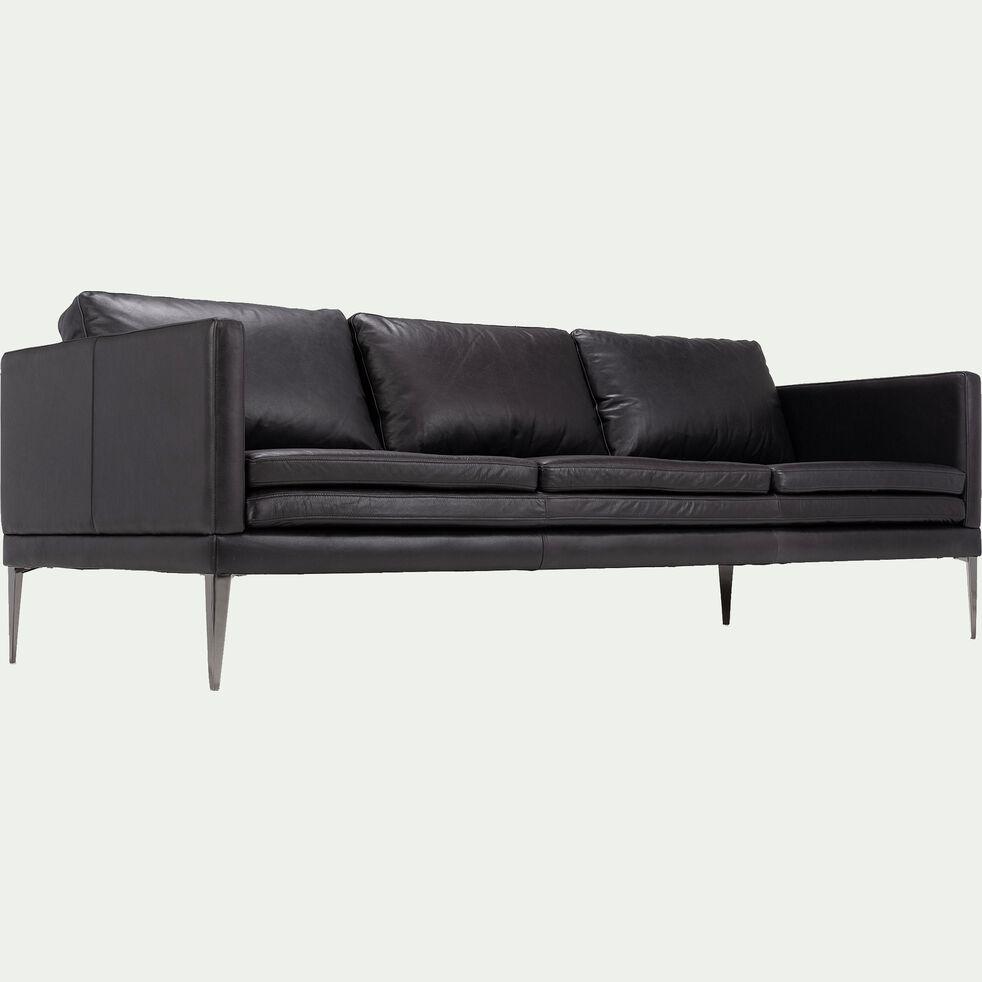 Canapé 3 places fixe en cuir aniline - noir calabrun-PALMIE