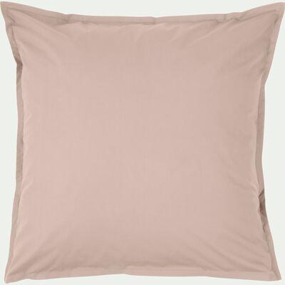 Lot de 2 taies d'oreiller en percale de coton - rose argile 65x65cm-FLORE