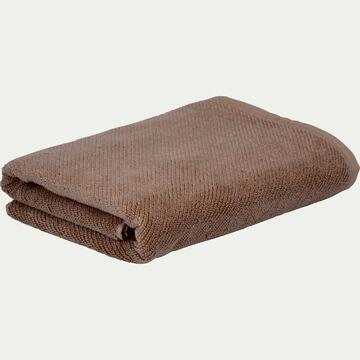 Drap de douche bouclette en coton bio - brun châtaignier 70x130cm-COLINE