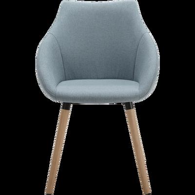 Chaise En Tissu Bleu Gris Avec Accoudoirs NOELIE