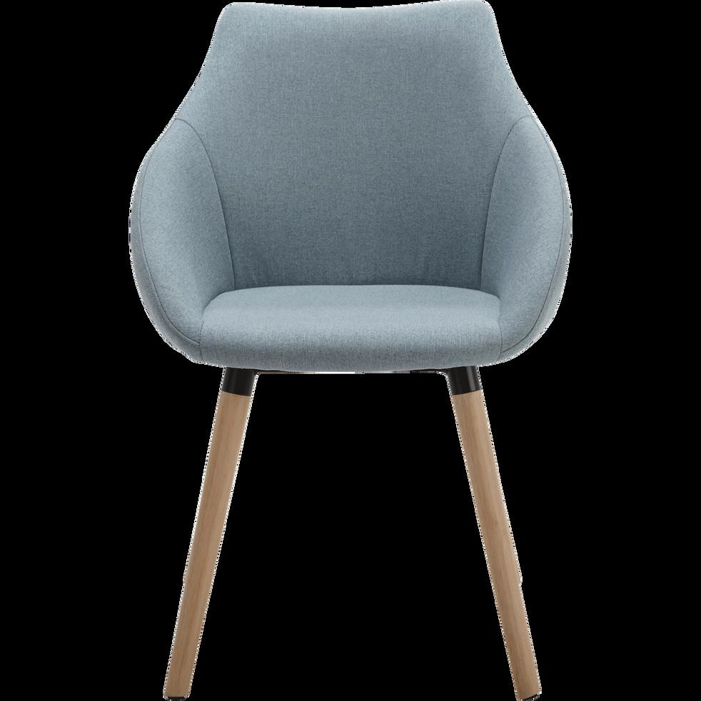 Chaise En Tissu Bleu Grise Avec Accoudoirs NOELIE
