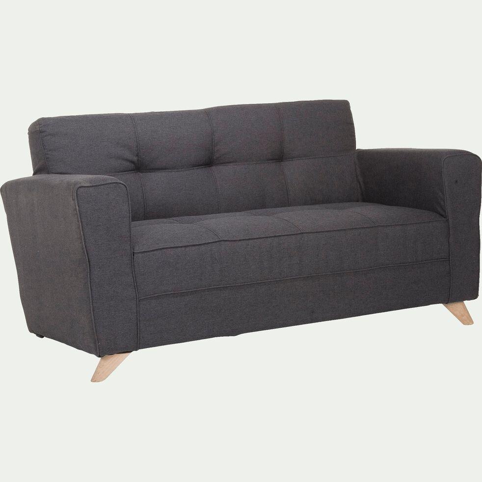 Canapé 2 places fixe en tissu - gris anthracite-VICKY