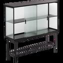 Buffet haut en métal noir et en verre cannelé-VAREI