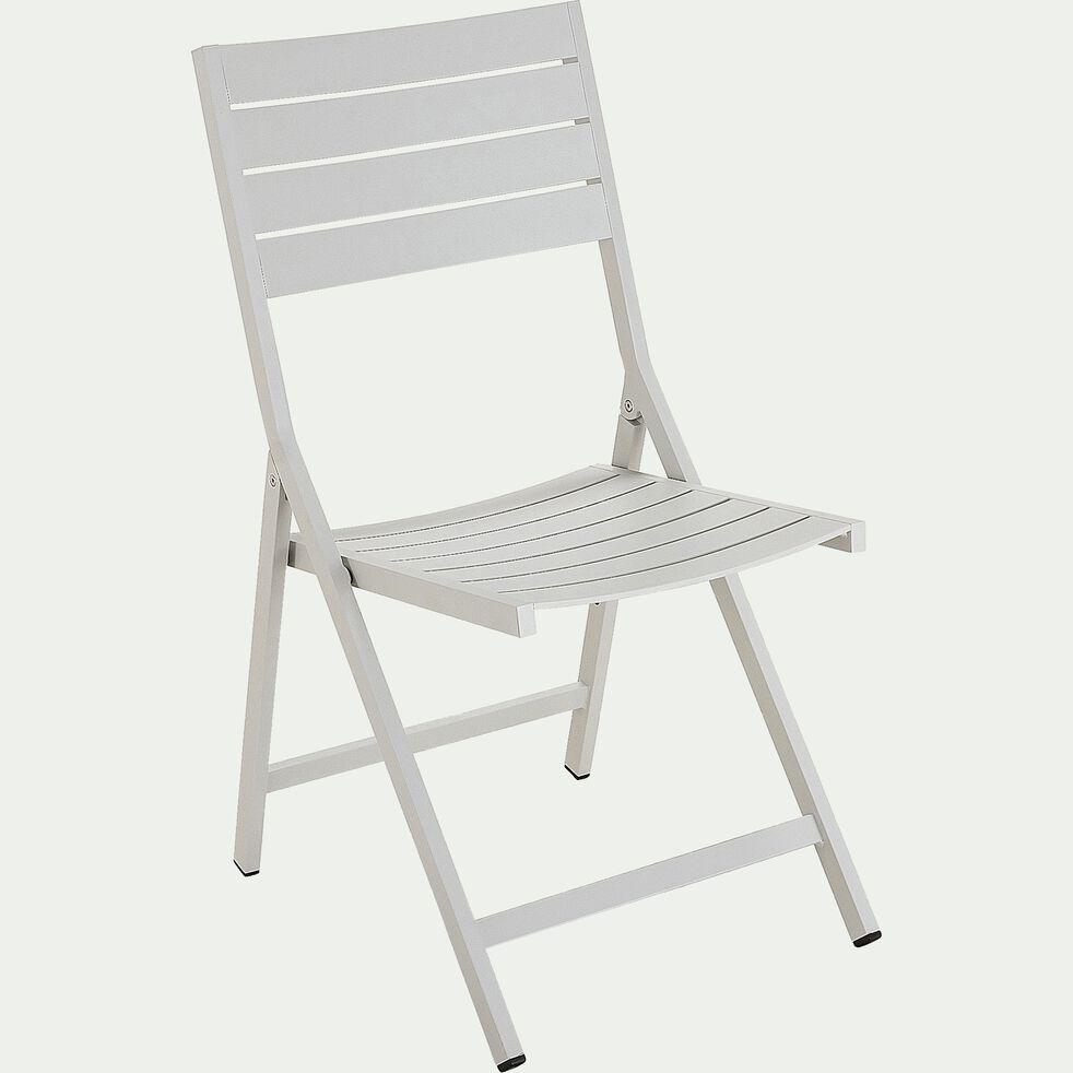 Chaise de jardin pliante en aluminium - gris restanque-VITOR