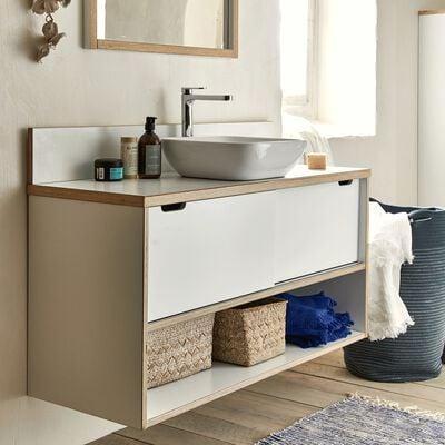 Meuble sous vasque double en bois - blanc-MUGEL