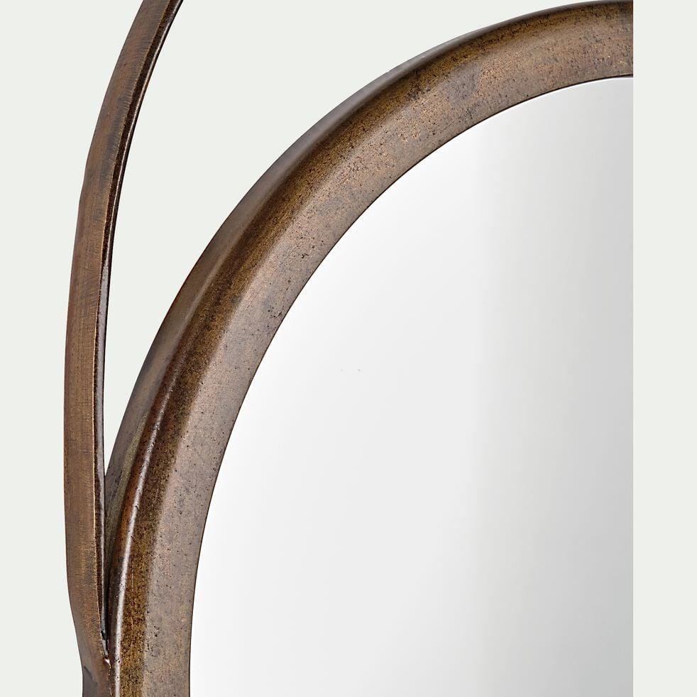 Miroir rond à suspendre en fer h39cm - marron-AGRA