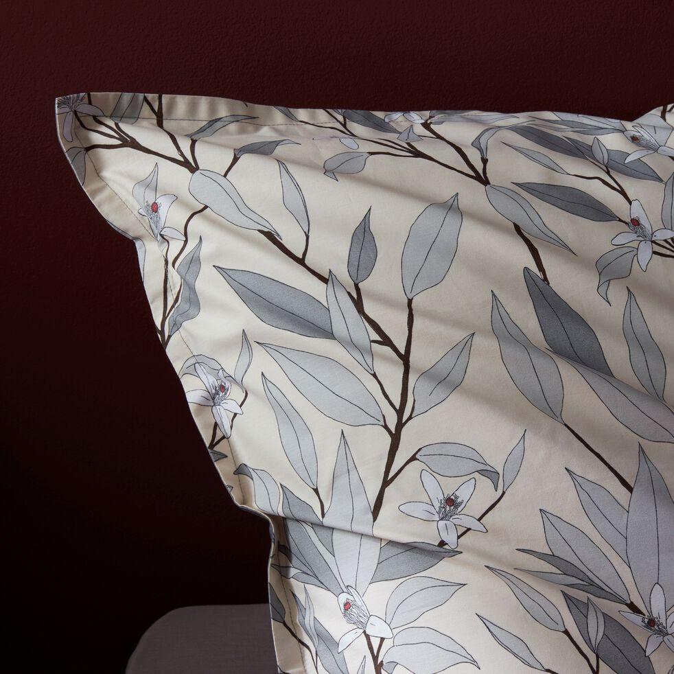 Lot de 2 taies d'oreiller en percale de coton motif Fleurs d'oranger - gris restanque 63x63cm-FANNY
