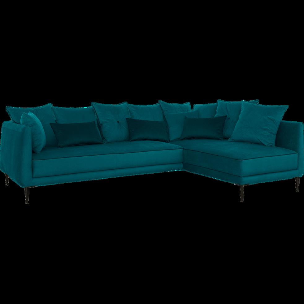 Canapé d'angle fixe droit en tissu bleu niolon-ASTELLO