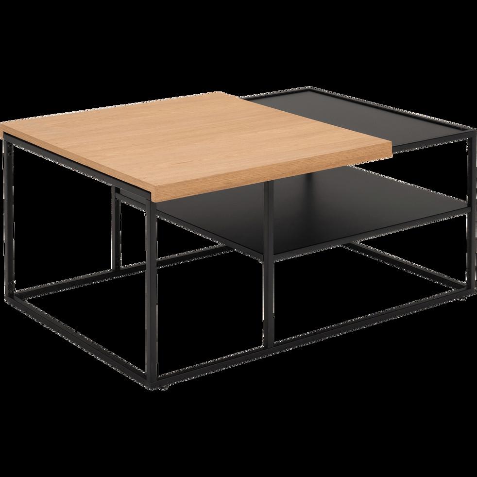 Chêne Métal Plateau Coulissant Plaquée Noir Et Basse Avec Table 76YbfyvIg