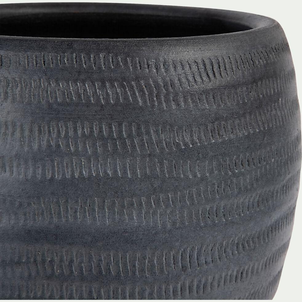 Pot à motif en céramique - gris anthracite D19xH16cm-OREZZA