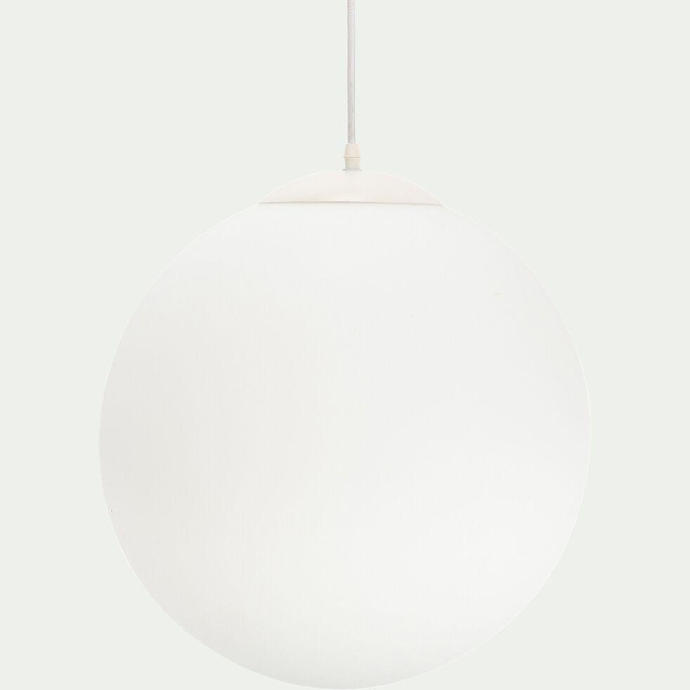 Suspension en métal et verre opaque - blanc D40xH140cm-MARCELINO
