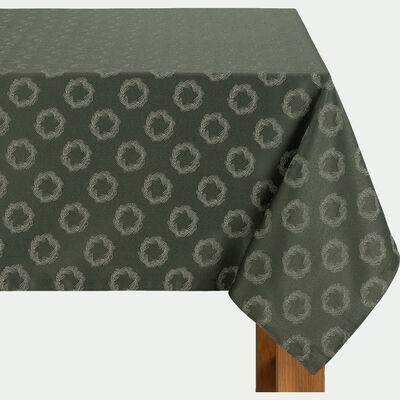 Nappe en polyester et coton vert 170x300cm-COURONNE