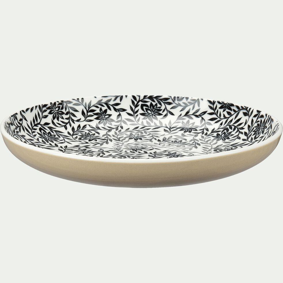 Assiette à dessert en porcelaine motifs jasmin - beige nèfle D20cm-AIX