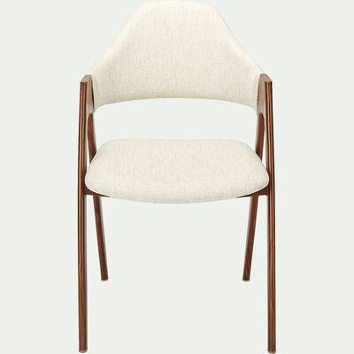 Chaise en tissu et effet bois - beige alpilles-GARETTE