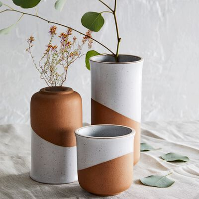 Vase en faïence blanc et marron H10cm-TUP