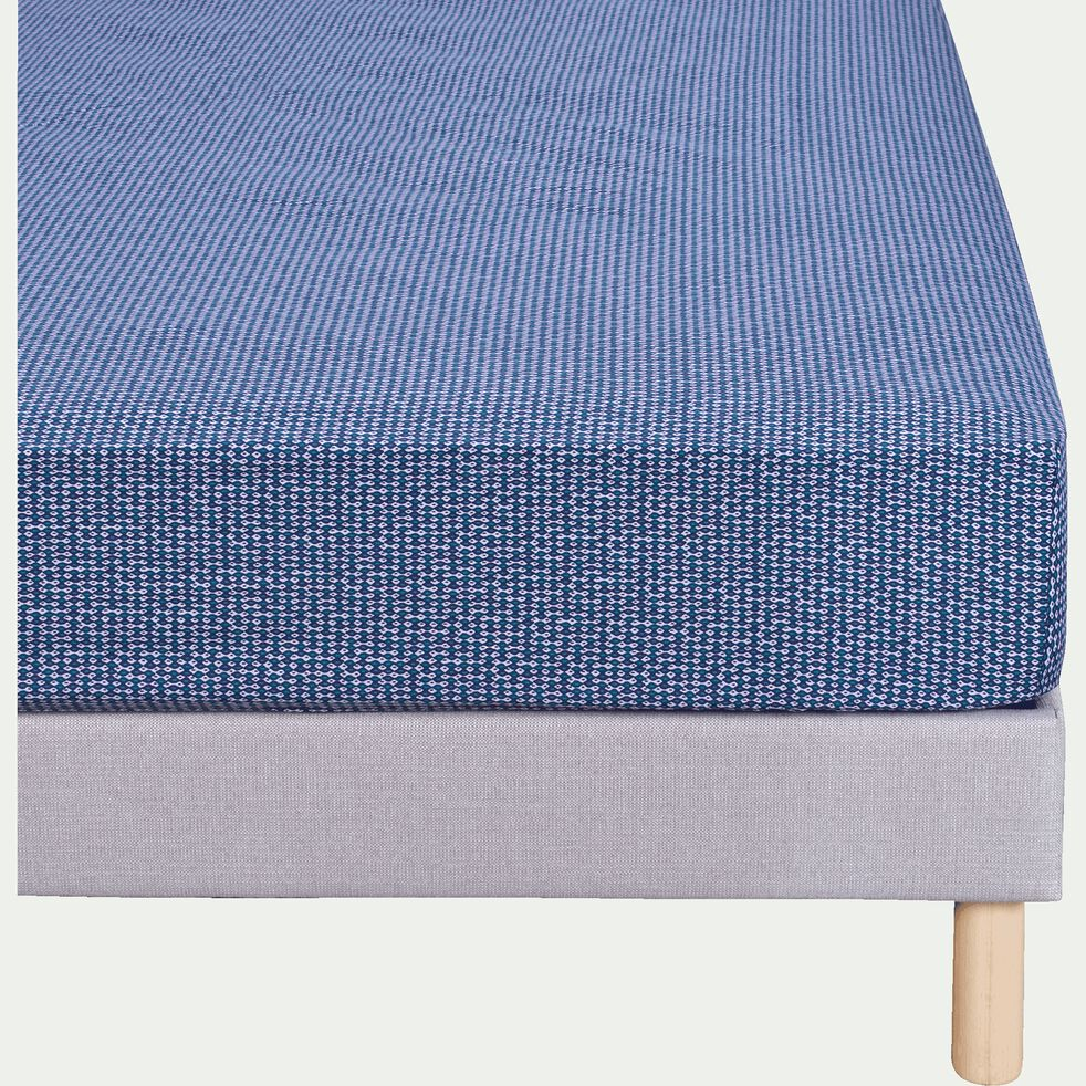 Drap housse - bleu figuerolles 140x200cm B27cm-SEME